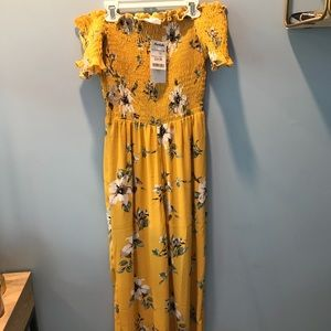 Yellow off the shoulder jumpsuit